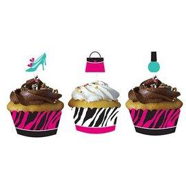 Cupcake Wraps & Toppers-Pink Zebra Boutique-12pkg