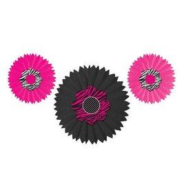 """Paper Fans-Pink Zebra-3pkg-8""""-12"""""""