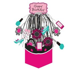 "Centerpiece-Foil Cascade-Pink Zebra Birthday-1pkg-12.5"""