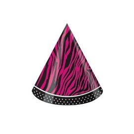 Hats-Cone-Pink Zebra Boutique-8pkg-Paper