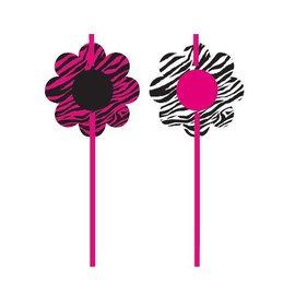 "Plastic Straws-Pink Zebra-6pkg-8.25"""