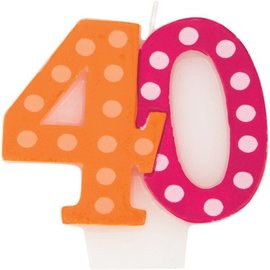 Candles- 40th Bday-6pk/2''