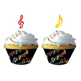 Cupcake Wraps & Toppers-Dancing Music Notes-12pkg