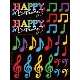 Stickers- Happy Birthday Musical Notes-4shts