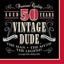 Napkins-LN-Vintage Dude 50th-16pkg-3ply