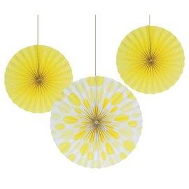 """Paper Fans-Yellow Solid & Dots-3pkg-12""""-16"""""""