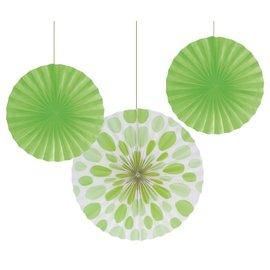 "Paper Fans-Lime Green Solid & Dots-3pkg-12""-16"""