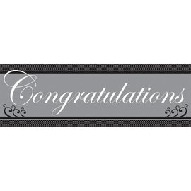 Party Banner-Plastic-Chic Wedding Cake Congratulations-1pkg
