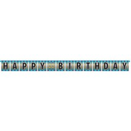 Jointed Banner-Foil-Happy Birthday Pop-1pkg-8.5ft