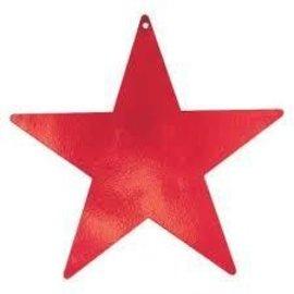 "Cutout - Foil - Star - Red - 5"" - 12pc"