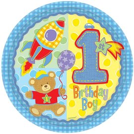 Plates-Bev-Hugs and Stitches Boy-8pk-Paper