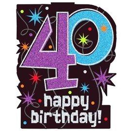 Cutouts-40th Birthday-w/Glitter-Plastic-11.75'' x 14.5''