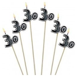 Candles-30 Bday-6pk/9.5''