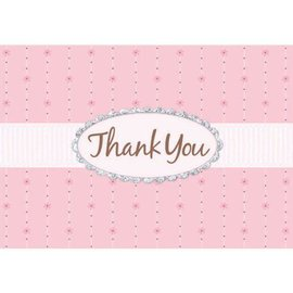 Thank You Cards-Pink Passion-w/Glitter-8pk