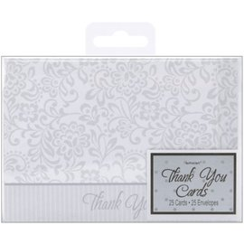 Thank You Cards-Wedding Tradition-Silver-25pk