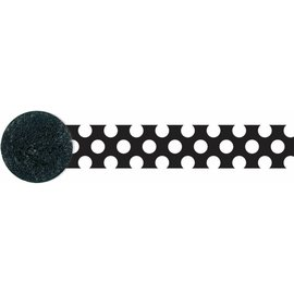 Paper Crepe Streamers-Black & White Polka Dot-81ft