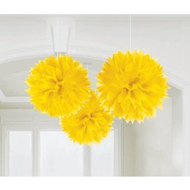 Danglers-Paper Fluffy Decorations- Yellow-3pk/16''