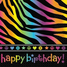 Napkins-BEV-Neon Bday-16pk-2ply - Discontinued