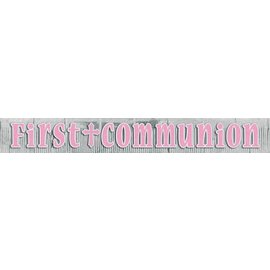 Banner-First Communion Pink-8.75ft x 12'' (Seasonal)