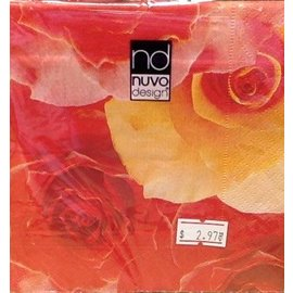 Napkins-BEV-Red & Yellow Flowers-20pkg-3ply- Discontinued
