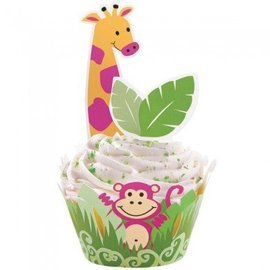 Cupcake Wraps & Picks-Jungle Pals-24pkg