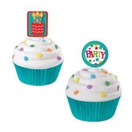 Cupcake Toppers-Party Time-12pkg-3""