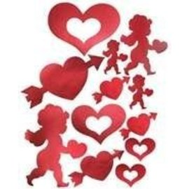 "Cutouts-Foil-Valentines Cupid Heart-12pkg-4""-12"""