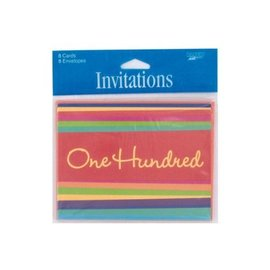Invitations-One Hundred Celebration-8pkg