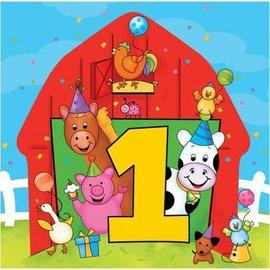 Napkins-LN-Barn Yard 1st Birthday-16pkg-3ply (Discontinued)