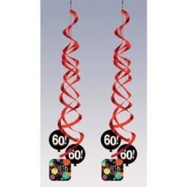 Danglers-Foil Swirl-Life is Great 60th Birthday-2pkg-36""