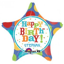 Foil Balloon - Happy Birthday Star Personalize - 19''