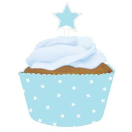 Baking Cups & Toppers-Light Blue Stars-12pkg