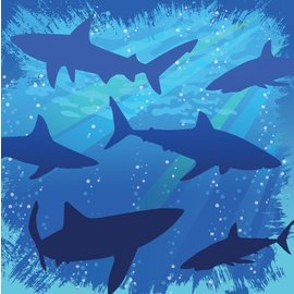 Napkins-BEV-Shark Splash-16pkg-3ply