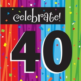 Napkins-LN-Milestone Celebrations 40th-16pkg-3ply - Discontinued