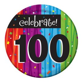 Plates-BEV-Milestone Celebrations 100th-8pkg-Paper - Discontinued