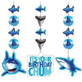 "Hanging Cutouts-Shark Splash Birthday-3pkg-36"""