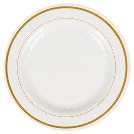 Plates-BEV-White and Gold-15pkg-Plastic