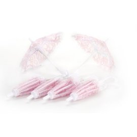 Umbrellas-Mini-Baby Shower-Pink-Lace-6pk