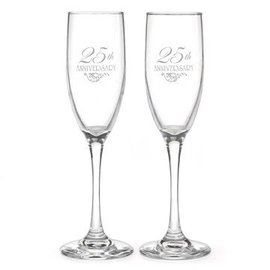 Champagne Glasses-25th Anniversary-2pk/6oz