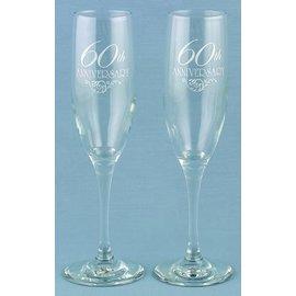 Champagne Glasses-60th Anninversary-2pk/6oz