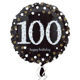 "Foil Balloon - 100th Birthday Sparkle - 18"""