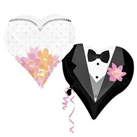 """Foil Balloon - Bride and Groom Hearts - 25""""x30"""""""