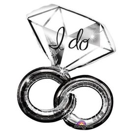 """Foil Balloon - I Do Intertwined Wedding Ring - 30""""x27"""""""