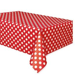 Table Cover-Ruby Red Dots-Plastic-54''x108''