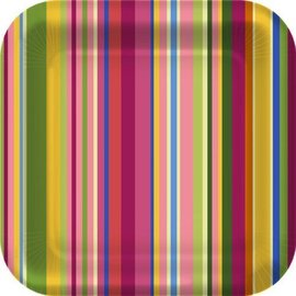 Plates- BEV- Colourful Stripes-8pk-Paper (Discontinued)