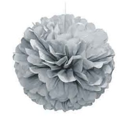 Puff Ball Decor- Silver- 16""