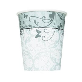 "Paper Cups- Victorian Wedding 8pk/9ozPaper Tablecover - Platinum Proposal - 54"" X 102"" (Discontinued)"