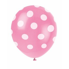 Balloon-Latex-Hot Pink Dot-12''-6pk