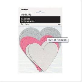Cutouts-Hearts- Silver, Pink, White-Glitter-6pk
