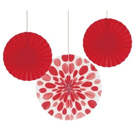 "Paper Fans-Red Solid & Dots-3pkg-12""-16"""